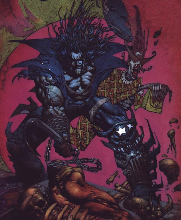 Lobo graps and old lady|By Simon Bisley Lobo drags an old lady away|Lobo|lobo,chain,hook,oldLady